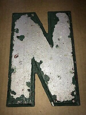 "Vintage Wagner Sign Company Cast Aluminum 8"" Letter N Movie Marquee"