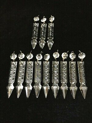 """9 Vintage Murano Cut Crystal Spare Prism Parts for Venini Chandelier, 4"""" Long"""