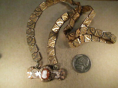 """Antique Victorian Gold Filled & Hardstone Cameo Bookchain Necklace, 19.5"""""""