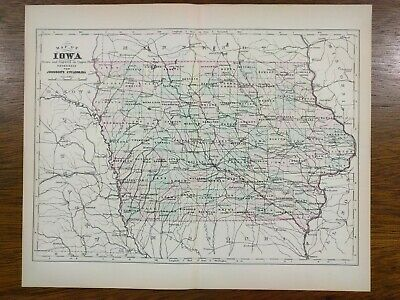 IOWA 1896 Vintage State Map Old Antique Original AMES DES MOINES KEOSAUQUA MAPZ