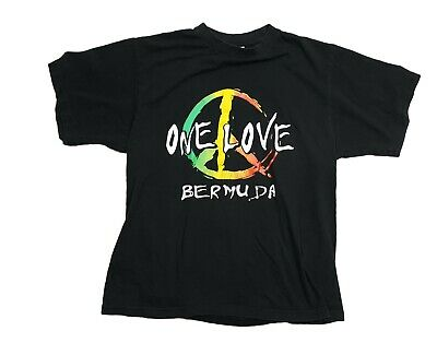 Vintage One Love Bermuda Shirt Large Peace Sign 90s