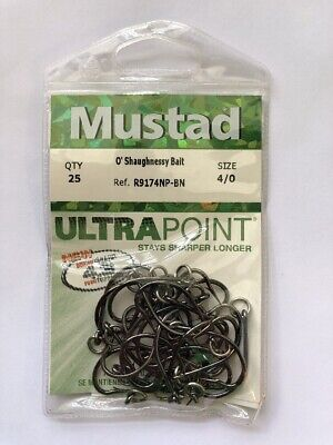 Mustad 2//0 Ultra Ringed O'Shaughnessy Bait Hooks R9174NP-BN Lot Of 2 = 50 Hooks