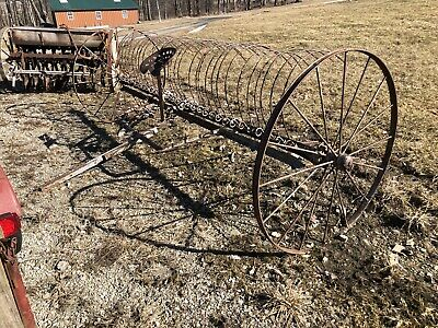 Old Dump Hay Rake Farm Equipment Antique Horse Drawn Amish Rustic Display