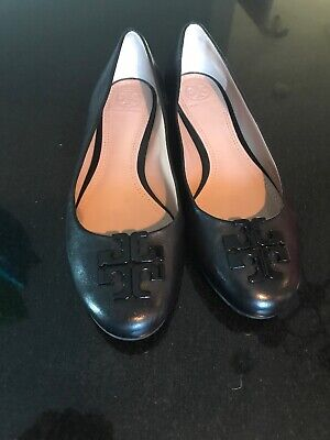 7413cfa9d570 NEW TORY BURCH Melinda Leather Flats Shoes Ballerina Black Black Size 9.