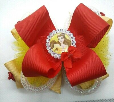 Handmade Yellow Beauty And The Beast Princess Belle Stacked Boutique Hair Bow