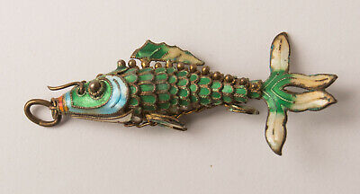 2 inch Antique Chinese Silver & Enamel Articulated Tail Koi Carp Fish Pendant