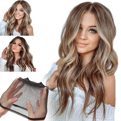 Fashion Women Synthetic Hair Long Curly Wavy Ombre Brown Gold Gradient Full Wigs