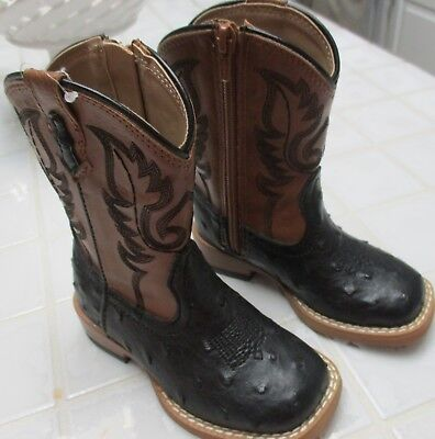 3bc2334a867 KIDS TODDLER COGNAC Ostrich Quill Cowboy Boots Print Leather Square ...