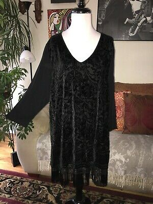 be839ec86aa161 CATHERINES sz 1X Black Burnout Velvet 3/4 Sleeve Fringe Accent Tunic Top  Stretch