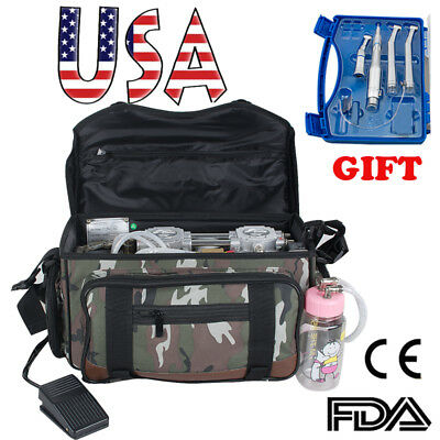 Portable Mobile Dental Unit Treatment Backpack bag Air Compressor handpiece Kit