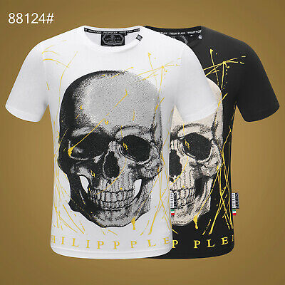 9a9ad7f8595 PHILIPP PLEIN Men Sport T-Shirt Skull Short Sleeve Tee Fitness Tops M-3XL