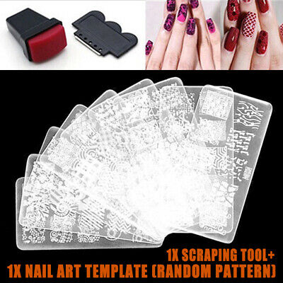 DIY Stencil Nail Art Image Stamp Stamping Plate Manicure Template Tool Kit