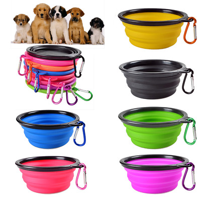 Portable Dog Puppy Cat Pet Animal Feeding Drink Food Water Bowl Dish Travel Toy