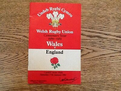 WALES v ENGLAND 1981 RUGBY PROGRAMME 17 Jan at CARDIFF
