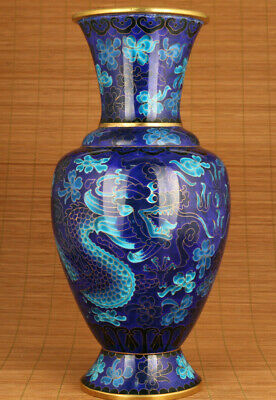 big unque chinese cloisonne hand carved dragon vase