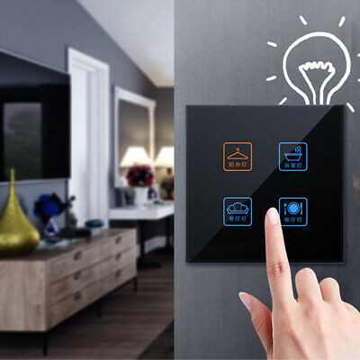 1/2/3/4Gang Smart Light Wall Touch Switch Glass Panel Dustproof Black Home Hotel