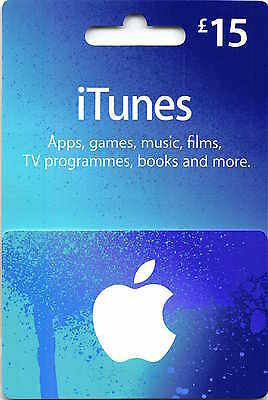 iTunes Gift Card UK  £15 GBP Apple App Store Key Code £15 Pound British English