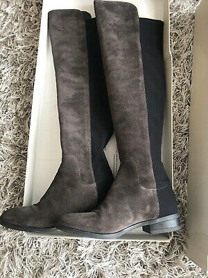 9bf11e308ba BNIB CLARKS CADDY Belle Grey Suede and Elastic Over The Knee Boots ...
