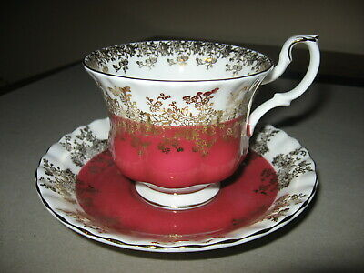 """Scarce Royal Albert """"Regal Series"""" Porcelain Cup & Saucer Red With Gold Trim"""