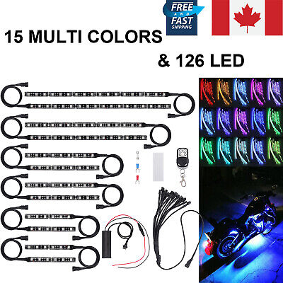 12pc Motorcycle 15colors Light Strip Kit ATV RGB 126LED Neon For Harley Davidson