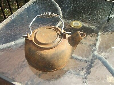 Vintage Cast Iron Tea Coffee Pot Kettle Spiral Handle Swivel Lid RUSTIC CHIC