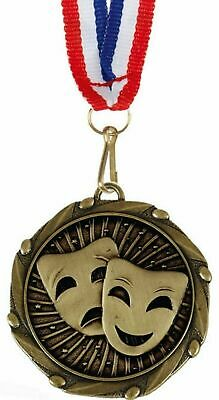 Pack of 100 Personalised Drama Busker Masks Medals & Ribbons ENGRAVED FREE (G)