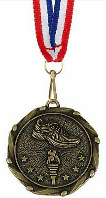 Pack of 50 Personalised Running Shoe Medals & Ribbons ENGRAVED FREE (G)