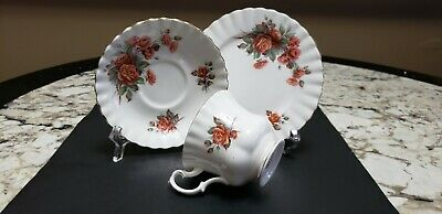 """Royal Albert Bone China """"Centennial Rose"""" Footed Cup And Saucer Trio Gilt"""