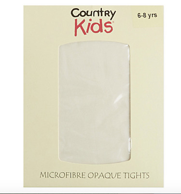 6 - 8 Yrs Ivory Opaque Country Kids Tights RRP £6.00 Microfibre Opaques