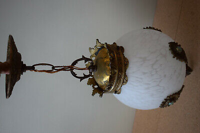 Art Deco Hanging Ceiling Light Lamp Fixture Ornate Milk Glass Shade Antique