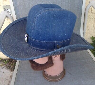 Vintage Blue Denim Cowboy Western Hat Made In The USA Size Small