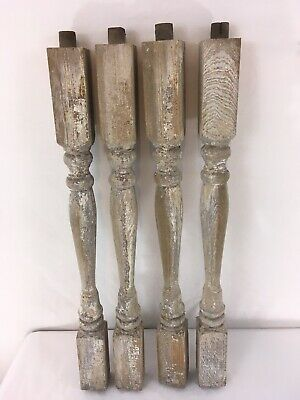 """Lot of 4 Antique Victorian Distressed Wood 21"""" Porch Rail Spokes Legs"""