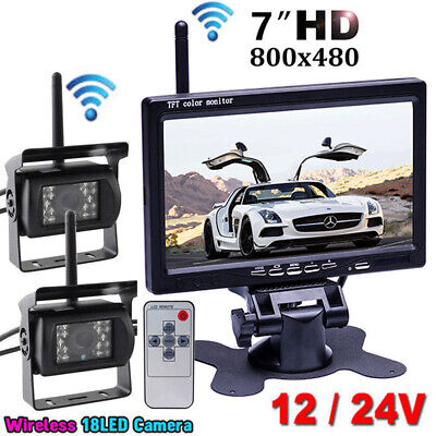 "2x Wireless IR Rear View Reversing Backup Camera+7"" LCD Monitor for RV Bus Truck"
