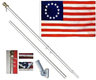Betsy Ross 3 x 5 FT Flag + 6 Ft Silver Spinning Tangle Free Pole + Bracket