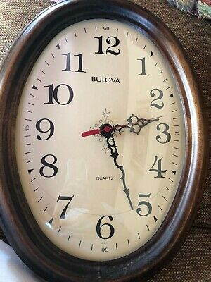 Vintage Bulova Wall Clock Oval Wood Frame Timepiece Mid Century 1970s For Parts