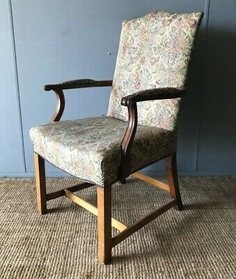 Antique Vintage Regency Georgian Style Fireside Arm Chair Tapestry Upholstery