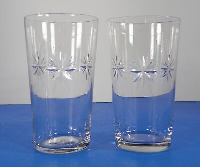 Vintage Glass Cut Eight-Point Star Crystal Flat Drinking Tumbler (s) LOT OF 2