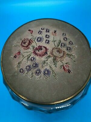 Victorian Antique Glass Vanity Powder Jar With embroidered lid