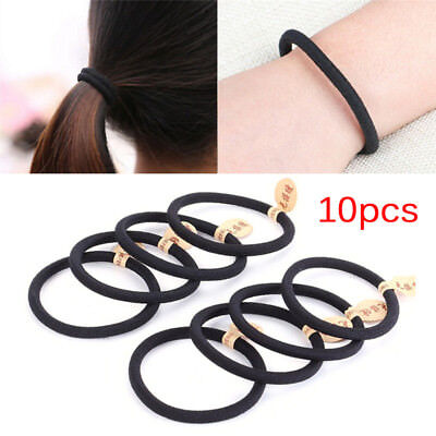 10pcs Black Colors Rope Elastics Hair Ties 4mm Thick Hairbands Girl's Hair Ba YT