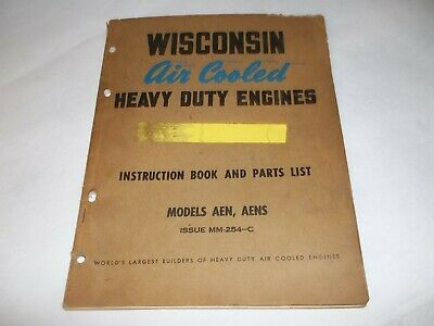 Wisconsin Air cooled heavy duty engine AEN AENS parts list & instruction book