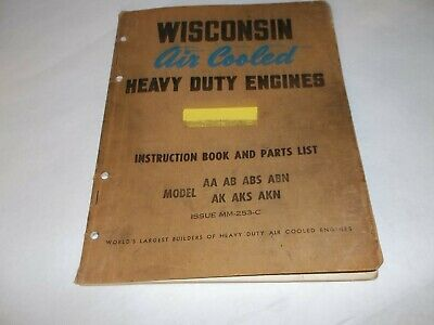 Wisconsin Air cooled heavy duty engine AA AB ABS ABN Ak AKS AKN instruction book
