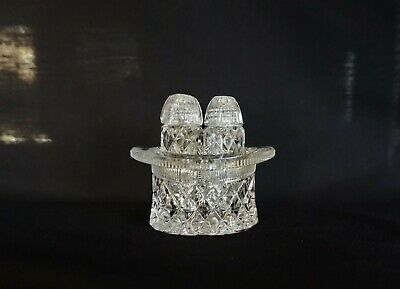 Vintage Crystal Top Hat Salt & Pepper Shakers Bohemia Czech