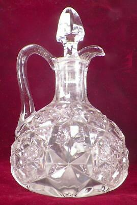 Toltec Cruet McKee Glass Clear EAPG Mold Blown Antique Stopper Replaced