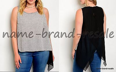 TORRID NEW Squares Print Hi Low Tank Top Plus 1 1X 14 16 Sheer Tulip Split Back