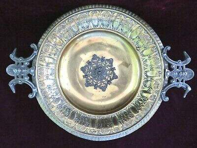 Antq Queen Victorian Aesthetic Brass & Silverplate Calling Card Tray Dish Plate