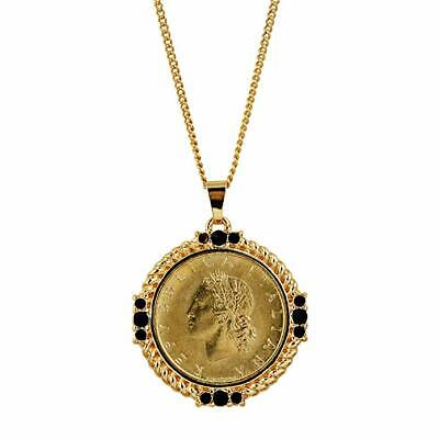 American Coin Treasures Italian 20 Lira Coin Pendant Necklace Faceted Round Jet