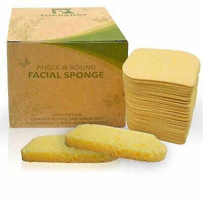 KOPHADOT Compressed Cellulose Cleansing Facial Sponges Natural Cleansing 50 Pack