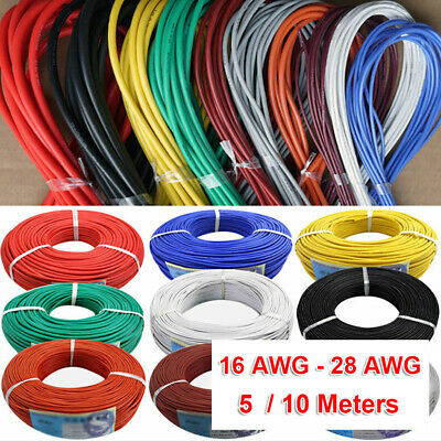 16AWG~28AWG Flexible Stranded Silicone Wire Electronic Cable 11 Colors 5M/10M