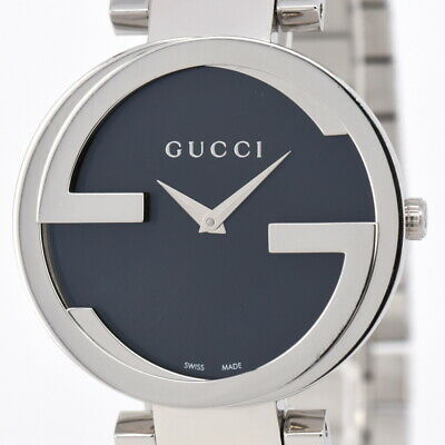 081f304a23a Auth Gucci Interlocking 133.3 YA133307 Black Dial Quartz Men s Watch N 84857