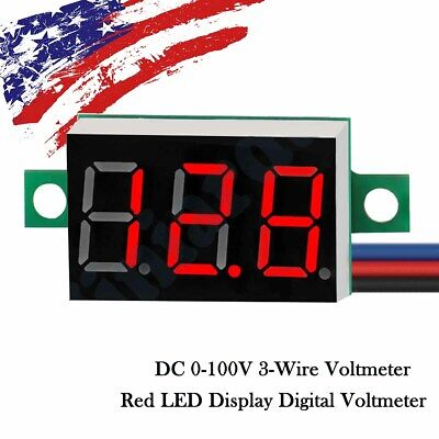 RED DC 0-100V 3 Wire LED Digital Display Panel Volt Meter Voltmeter LED